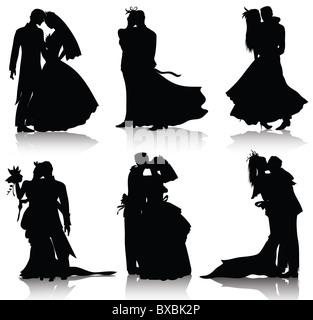 Wedding silhouettes isolated on white background - Stock Image