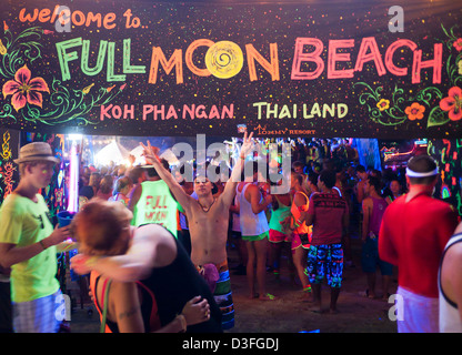 People at the Full Moon Party on Haad Rin beach Koh Phangan Thailand - Stock Image