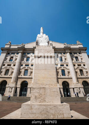 Vertical view of the Italian stock exchange in Piazza D'Affari in Milan, Italy. - Stock Image