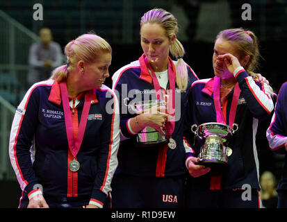 Prague, Czech Republic. 11th Nov, 2018. L-R US captain Kathy Rinaldi and US tennis players Danielle Collins and Sofia Kenin are seen after lost 2018 Fed Cup final match between Czech Republic and USA. Czech team won the tennis Fed Cup after Siniakova defeated Kenin, thanks to which they defeated the USA 3-0 in the final match at the O2 arena in Prague, Czech Republic, on November 11, 2018. Credit: Katerina Sulova/CTK Photo/Alamy Live News - Stock Image