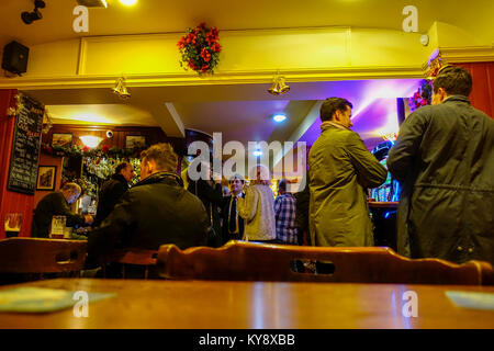 Bar at The Railway Tavern, Duke Street, Chelmsford, Essex, England, UK - Stock Image