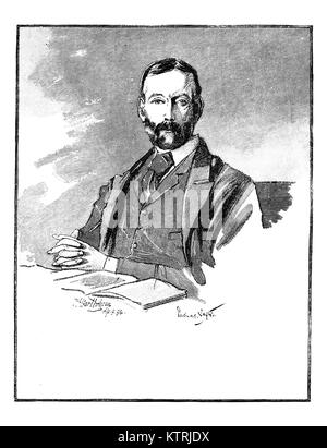 Portrait ofThomas Sexton, 1848 - 1932, Irish Journalist and Politician. Black and White engraving after a sketch - Stock Image