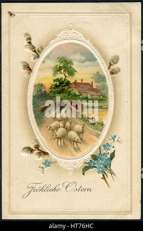 A postcard printed in Germany, shows the rural landscape and the shepherd. Beautiful frame with flowers. The inscription - Stock Image