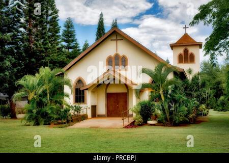 Waimea Sacred Hearts of Jesus and Mary Mission Church. Waimea., Kauai, Hawaii - Stock Image
