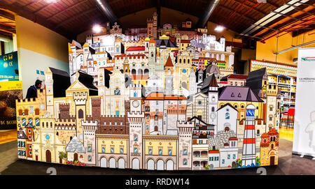 horizontal cardboard model representing villages and cities of Italy - Stock Image