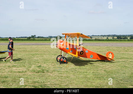 Large model of Fokker Dr.I triplane at Wings and wheels - Stock Image