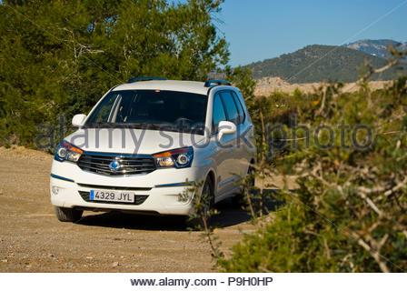 Ssangyong Rodius in Ibiza, Spain. - Stock Image