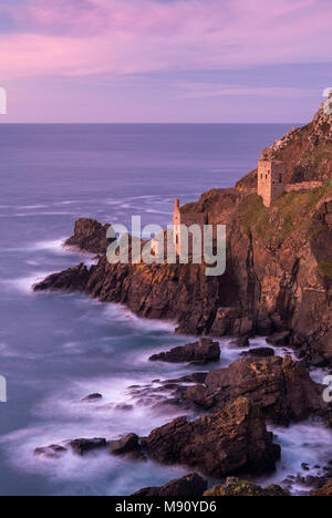 Botallack tin mines, used in the filming of Poldark, on the cliffs near St Just, Cornwall, England. Autumn (November) 2017. - Stock Image