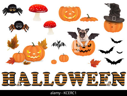cute funny halloween decoration elements, isolated on white background - Stock Image