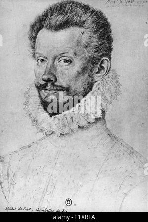 fine arts, Renaissance, 'Michel de Gast, chambellan du Roi' (Michel de Gast, chamberlain of the king), portrait, probably by Jean or Francois Clouet, drawing, 16th century, Additional-Rights-Clearance-Info-Not-Available - Stock Image