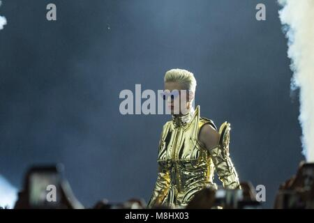 SÃO PAULO, BRAZIL - MARCH 17: Katy Perry performs during the Witness The Tour show at Allianz Park. March 17, - Stock Image