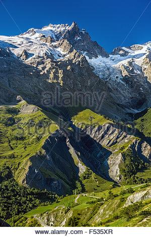 La Meije, the last major peak in the Alps to be summited (France) - Stock Image