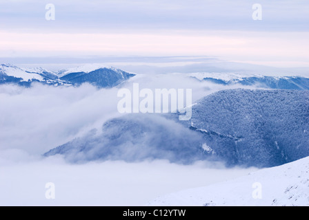 view from chatyr-dag mountain plateau on crimea in winter - Stock Image