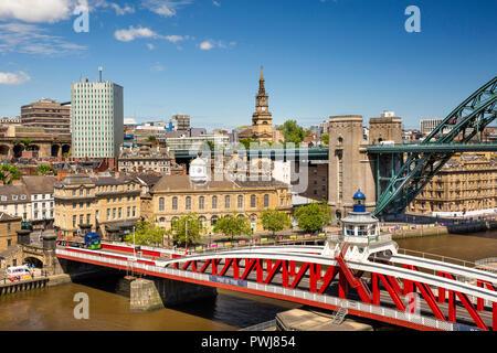 UK, England, Tyneside, Newcastle upon Tyne, Swing Bridge and northern pier of Tyne Bridge from High Level Bridge - Stock Image