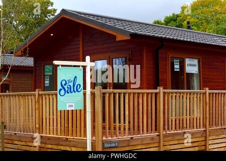 For sale sign, Luxury holiday home Lodge, Fallbarrow park,parkdean resorts,Bowness on Windermere,Lake district,Cumbria,England,UK - Stock Image