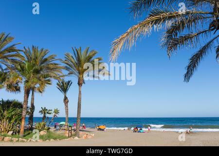 El Bombo beach, La Cala de Mijas, Costa del Sol, Malaga Province, Andalusia, southern Spain. - Stock Image