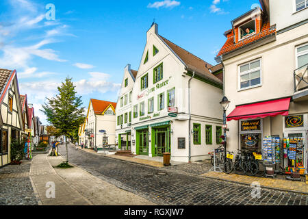 The picturesque coastal town of Warnemunde Germany with it's quaint shops, cobbled streets sits on the Northern Edge of Germany on the Baltic Sea. - Stock Image