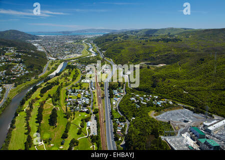Hutt River, Manor Park Golf Course and State Highway Two, Lower Hutt, Wellington, North Island, New Zealand - aerial - Stock Image