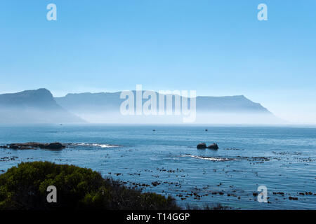 View across False Bay from the Cape Point Lighthouse, in Table Mountain National Park, on the Cape of Good Hope, South Africa. - Stock Image