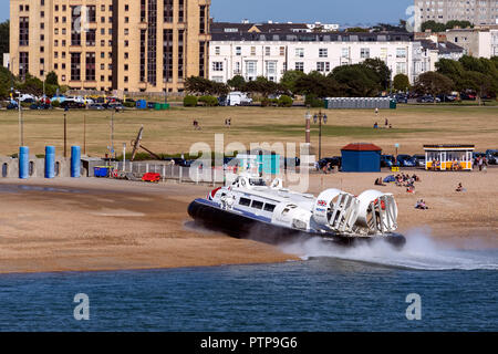 Hovercraft at Southsea near Portsmouth, England. Commercial  passenger service between Southsea and Ryde on the Isle of White. - Stock Image