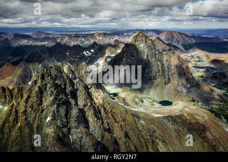 Dientes de Navarino mountain range at Navarino Island, Chile - Stock Image
