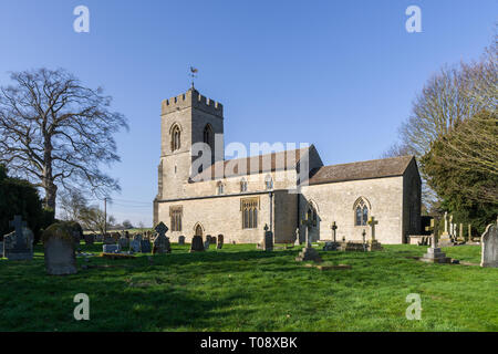 The church of St Lawrence in the village of Weston Underwood, Buckinghamshire, UK; earlist parts of the church date from 12th century - Stock Image