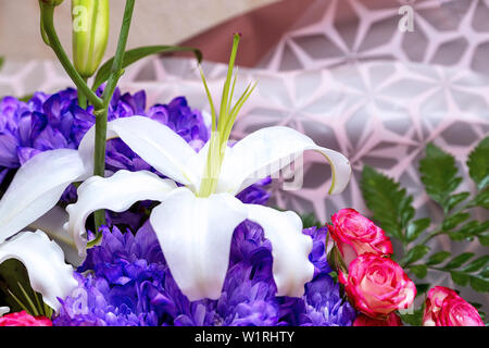White Lily in a beautiful bouquet - Stock Image