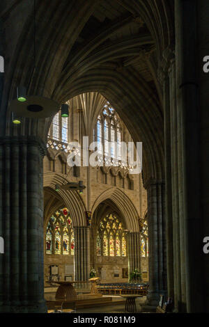 View from the north transept into the Nave of Exeter cathedral, Devon. - Stock Image