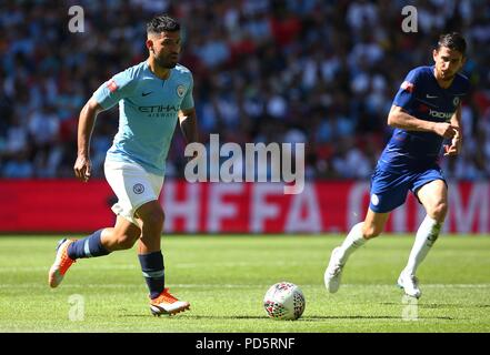 Sergio Aguero of Manchester City during the FA Community Shield match between Chelsea and Manchester City at Wembley Stadium in London. 05 Aug 2018 - Stock Image
