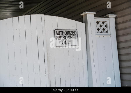 gate with authorized personnel only sign - Stock Image