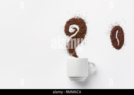 White ceramic cup of coffee with curly steam and bean made from grounds. Creative food artwork. Breakfast energy concept. Design element template for  - Stock Image