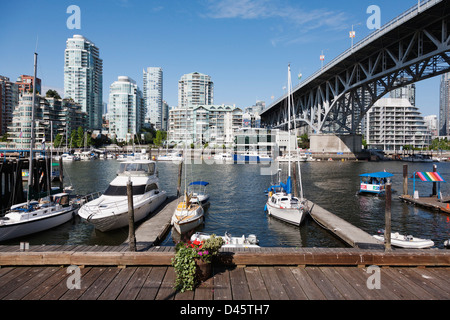 Boats docked at Granville Island, Vancouver, British Columbia, Canada - Stock Image