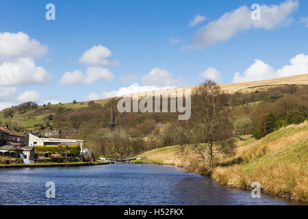 Canal basin between lock 29 and lock 30 on the Rochdale canal in the village of Walsden near the Lancashire/Yorkshire - Stock Image