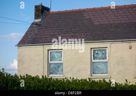 An empty home with the window glass painted white - Stock Image