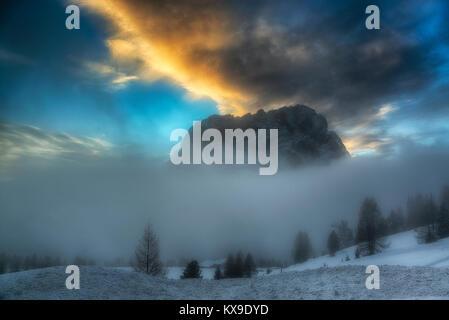 Sunset on the mountains in winter season, Val Gardena - Dolomiti - Stock Image