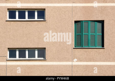 Exterior of modern urban housing block with apartments . - Stock Image
