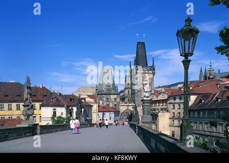 The Charles Bridge Prague Cz - Stock Image