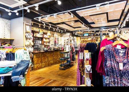 Inside White Stuff Store, White Stuff shop, White Stuff  shop interior, inside White Stuff shop, fashion chain, inside, interior, clothing, display, - Stock Image