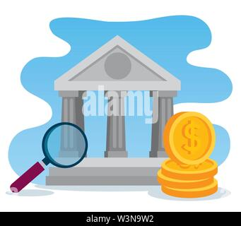 business bank with magnifying glass and coins - Stock Image
