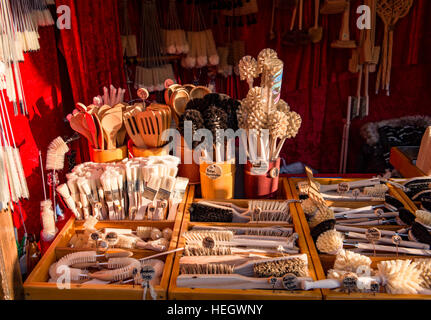 Brush stall in the Trier Christmas market - Stock Image
