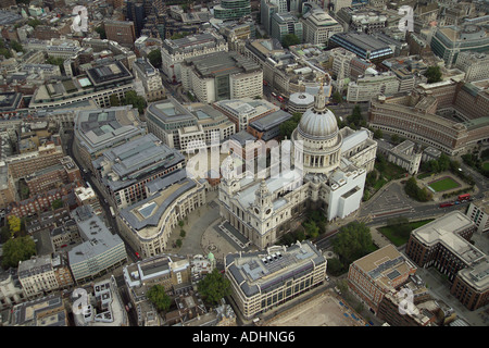 Aerial view of St Paul's Cathedral and Paternoster Square in London - Stock Image