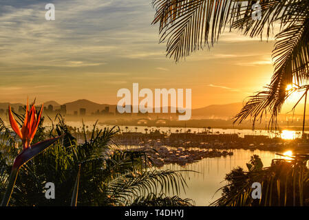 Calm bright sunrise over the San Diego skyline, with North San Diego Bay and docked sailboats off Shelter Island, California, USA - Stock Image