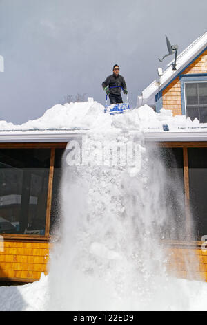 A man on the roof of his house clearing snow in Quebec. Winter of 2018-2019 saw very heavy snowfall - Stock Image