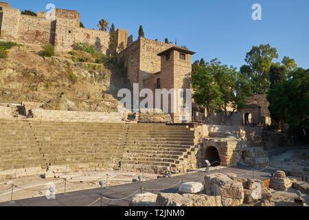 Roman Theater and Alcazaba. Málaga, Andalusia, Spain. - Stock Image