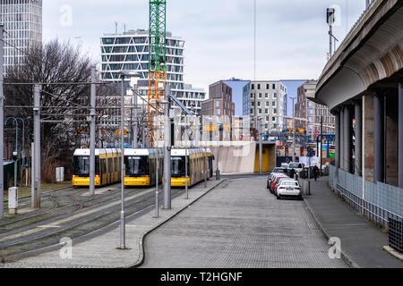 Berlin,Moabit, Tram terminus in Lüneburger Str. End of the line for M5 M8 & M10 trams - Stock Image
