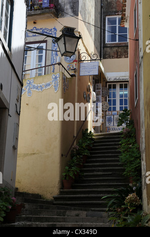 Stairway leading to shops in the Portugese town of Sintra - Stock Image