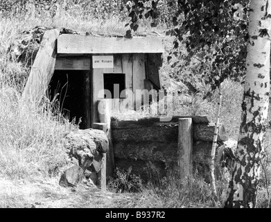 Hero of the Soviet Union Dmitry Medvedev s former guerilla headquarters dugout in the Tsumansky Wood during World - Stock Image