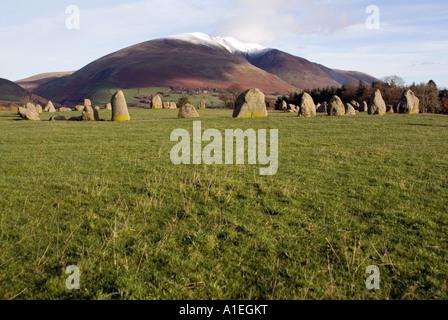 Doug Blane Castlerigg Stone Circle and Blencathra Saddleback near Keswick in the English Lake District National - Stock Image