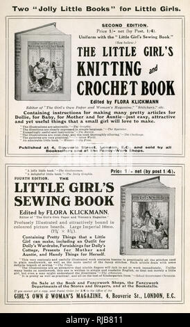 Black and white advert for 'Two 'Jolly Little Books' for Little Girls' on the inside of The Etiquette of To-day book, published by the Girl's Own Paper, circa 1914. Edited by Flora Klickmann. These books contained instructions for 'making many pretty articles for Dollie, for Baby, for Mother and for Auntie' - Stock Image