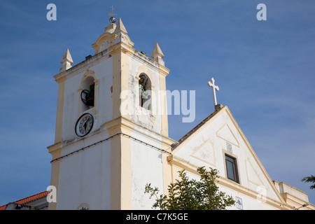 Portugal, Algarve, Ferragudo, Church & Belltower - Stock Image